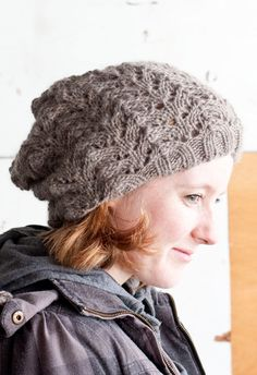 Fishtail Lace Slouch Hat in Eco Highland Duo #knit #free_pattern