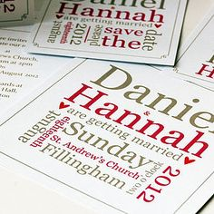 Personalised Word Block Wedding Stationery - save the date cards