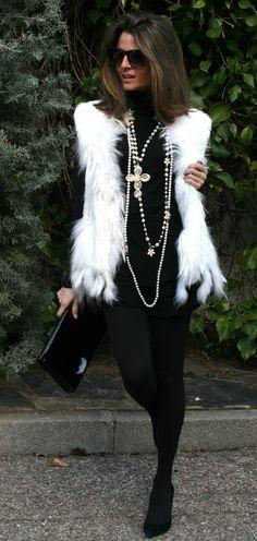 fashion black with white fur vest