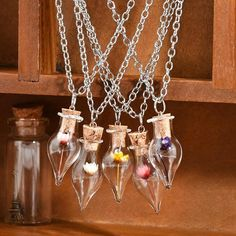 New Fashion Pendant Necklace New Women Lady Girls.Link Chain Necklace Dry Flower Lucky Wish Glass Bottle Chains Necklaces (China) Glass Flowers, Real Flowers, Purple Flowers, Bottle Necklace, Flower Necklace, Silver Pendant Necklace, Pendant Jewelry, Red Rose Flower, Chain Pendants