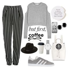 """#23 coffee break"" by sophisticatednerak ❤ liked on Polyvore featuring Natural Life, Glamorous, McQ by Alexander McQueen, adidas, French Connection, Lack of Color, Daniel Wellington and West Coast Jewelry"