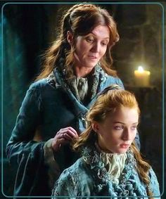 Arlessa Katelyn Astley of the West Hills with her daughter Mina Portrayed by Michelle Fairley and Sophie Turner Winter Is Here, Winter Is Coming, Ramsey Bolton, Michelle Fairley, Catelyn Stark, The North Remembers, House Stark, Valar Morghulis, First Novel