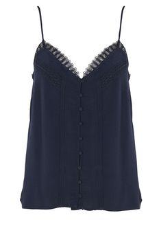 Top boutonné à bretelles  Bleu by NAF NAF High Tops, Pulls, Camisole Top, Dressing, Black And White, Detail, Tank Tops, Fit, Inspiration