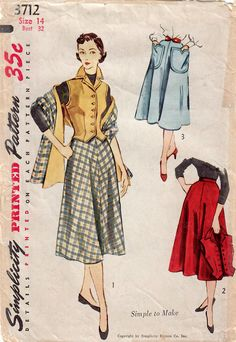Excited to share the latest addition to my #etsy shop: 1950s Simplicity 3712 Vintage Sewing Pattern Misses Skirt, Vest Weskit, Stole Size 12 Bust 30, Size 14 Bust 32 http://etsy.me/2EpnWqu #supplies #sewing #missesskirtpattern #missesvestpattern #missesstolepattern