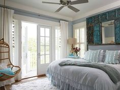 Beach Theme Bedroom with Hanging Chair l www.CarolinaDesigns.com