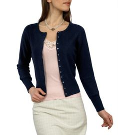 Navy Blue Cashmere Cropped Cardigan for Women