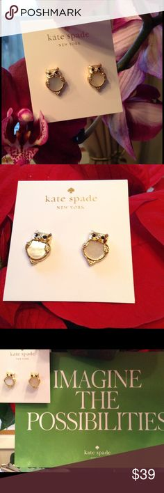 """Kate Spade Owl Earrings w/Mother of Pearl New. New Kate Spade Owl Earrings w/Mother of Pearl.  Into The Woods Collection. 12kt gold plated.  1/2"""" X 1/4"""". kate spade Jewelry Earrings"""