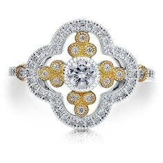 Women's .60 Carat #FILIGREE #COCKTAILRING 925 Gold Sterling Silver CZ Floral Sz 9