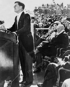 U.S. President Kennedy Inaugural Speech Vintage 1960s Reprint 8x10 Old Photo