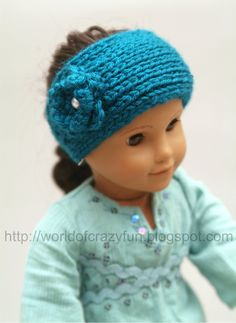 American Girl Doll Knit Head Wrap just for the Cerrati girls :)