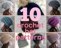 Crochet Patterns - 10 Most Popular Crochet Hat Patterns - Crochet Pattern Hat - Newsboy Visor Hat - Instant Download - Discount Package Hat Patterns, Knitting Patterns, Crochet Patterns, Knit Crochet, Crochet Hats, Popular Crochet, Etsy Shop Names, Pattern Pictures, Visor Hats