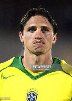 Brazil national soccer team player Edmilson poses for photographers in the 'Ferenc Puskas' stadium of Budapest on Wednesday 28 April 2004 prior to a...