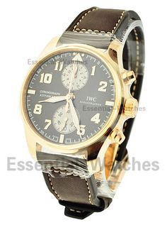 IWC IW387805  Pilots Chronograph Saint Exupery in Rose Gold - Brown Dial - Limited to 500 pcs  Item ID - 54840 Model # - IW387805 Case - 18KT Rose Gold Case Size - 43mm Movement - Automatic Dial - Brown Dial Bracelet - Brown Calfskin Leather Strap Retail Price - $34,500 Your Price - $22,550 (Wire Price - $22,000)