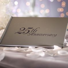 25th Anniversary Silver Guest Registry Sign In Book