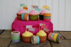 Washi Tape Cupcake Flags Cupcake by SweetSophieMaes on Etsy, $2.99