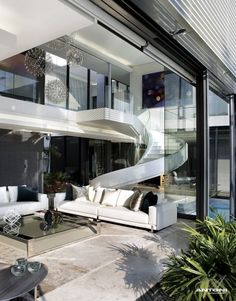 Unique Spiral Stairs of the living room