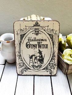 Miniature halloween sign dollhouse witches sign by DewdropMinis Witch Pictures, Witch Signs, Dollhouse Accessories, Halloween Signs, Made Of Wood, Decoration, Witches, Hand Stamped, Dollhouse Miniatures