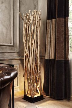 Floor lamp from branches