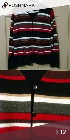 Sag harbor sweater One piece looks like 2, red gray &brown stripes Sag Harbor Sweaters Cardigans