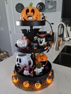 Tiered Tray from Hobby Lobby. Decor from Michaels, Dollar Tree, Target and Shop Disney. Soirée Halloween, Adornos Halloween, Holidays Halloween, Halloween Treats, Halloween Baking, Trendy Halloween, Halloween Costumes, Disney Halloween Decorations, Halloween Home Decor