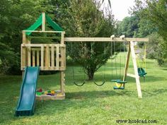 Free Plans for Kids Wooden Playset Eric built a version of this for the boys.  Very fun.  The boys love it!