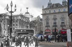 These incredible images show locations throughout England's famous old capital as they looked both in history and today. Released by the Museum of London...