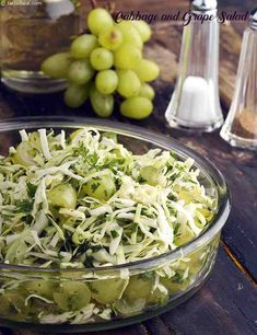 An interesting combination of cabbage and grapes. Cabbage gives a nice crunch to this salad; the grapes give a sweet sour taste and the green chillies gives a little spice to this salad. So make this crunchy, sweet and spicy salad for your loved one's… Salad Recipes By Tarla Dalal, Veg Salad Recipes, Vegetarian Recipes, Cooking Recipes, Easy Cooking, Cabbage Benefits, Healthy Recepies, Healthy Food, Grape Salad