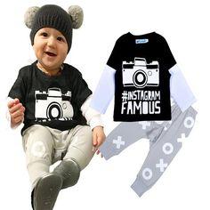 c337c9cbd6ce2 4sets Newborn Baby Costumes Sets Camera Printed T-shirt Tops + Pants 2pcs  Set Baby Boy Clothes Sets 2016 INS Brand Camera Baby Clothing Set