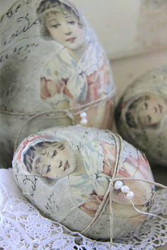 Decoupage Easter eggs with vintage picture of little girl in pink by Jeanne d`Arc Living