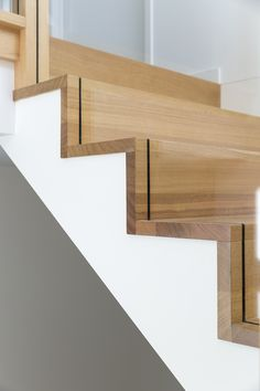 Stair | Staircase | Timber Stairs | Tasmanian Oak | Glass Balustrade | Closed Stair | Stained | Handrail | Architecture | Interior Design | Floorboards #closed_stairway_decor