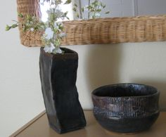 E.Sue McCoy: angled square vase, 12 inches, with bowl