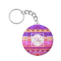 Custom Monogram on girly Andes Aztec pattern keychain, customize with your own name and initial and any color type you wish.