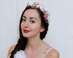 White pink wedding set Floral crown Flower hair wreath Wedding headpiece Boutonniere Bridal headband Wedding accessories Flower crown