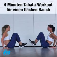 Bauch weg Übungen im Video: 4 Minuten Tabata Ultimate Sixpack Workout Would you like a short but intense abdominal workout? Then train together with Nicole and Anna-Lena. This tabata workout onl Fitness Workouts, Tabata Workouts, Insanity Workout, Best Cardio Workout, Fitness Motivation, Pilates Workout Videos, Workout Exercises, Body Workouts, Hiit
