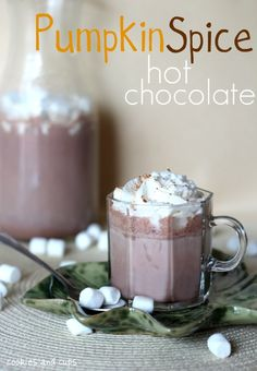 Pumpkin Spice Hot Chocolate--I'm sure soy or other non-dairy milk could sub in for the milk in this. Sounds delicious for the season of pumpkin-everything! Pumpkin Recipes, Fall Recipes, Holiday Recipes, Drink Recipes, Holiday Ideas, Cookie Recipes, Healthy Recipes, Yummy Treats, Sweet Treats
