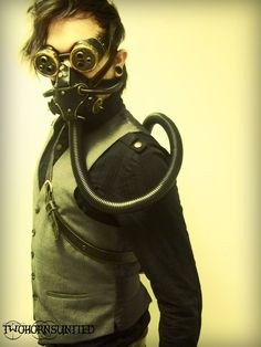 Steampunk mask, goggles, and tank w/belt for sale! by TwoHornsUnited.deviantart.com on @DeviantArt