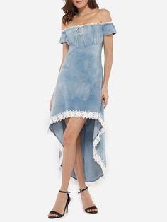 Asymmetrical Hems One Shoulder Dacron Lace Patchwork Maxi-dress