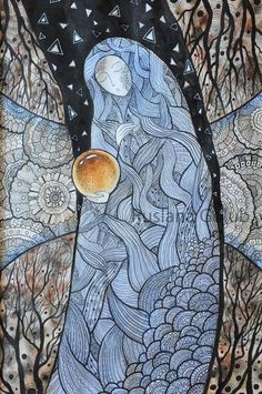 Guardian Watercolor painting Goddess Spiritual illustration Witch Magical sphere Mother of nature Ink drawing Pagan Art print Ruslana Golub Watercolor And Ink, Watercolor Illustration, Watercolor Paintings, Original Paintings, Wiccan Home, Crystal Illustration, Spiritual Paintings, Pagan Art, Witch Art