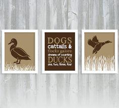 Duck Print Set - Boy Nursery - Hunting Nursery - Mallard Duck Print - Set of Three 8x10 Prints on Etsy, $32.95