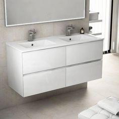Kyoto L, Meuble salle de bain 121 cm blanc brillant, double vasque