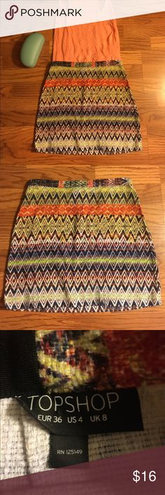 4️⃣➡️🔟Top shop Aztec style patterned skirt This item is eligible for the four items for only $10 deal! Any item with a 4️⃣➡️🔟 in the title is eligible. Please comment and ask for separate bundle listing for this deal! Topshop Skirts Mini