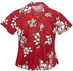 White Hibiscus Ladies Fitted Hawaiian Aloha Shirt - Red