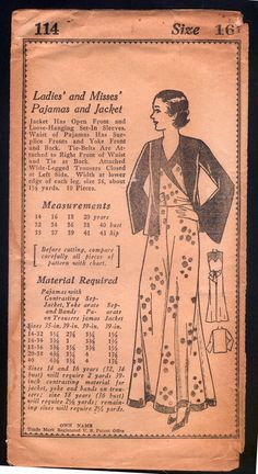 1930 Own Name Pattern Ladies Beach Pajamas with Jacket | eBay