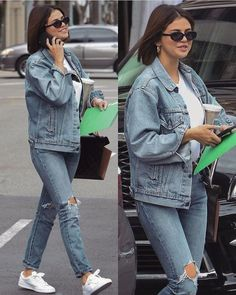 Selena Gomez Looks 🍒 Celebrity Style Casual, Celebrity Look, Casual Outfits, Cute Outfits, Fashion Outfits, Selena Gomez Casual, Selena Gomez Jeans, Selena Gomez Short Hair, Selena Gomez 2019