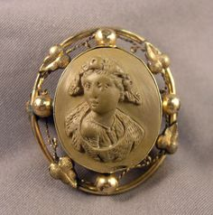 Antique Victorian Brooch - Italian Lava Lady Cameo & Gold Filled Mounting as is