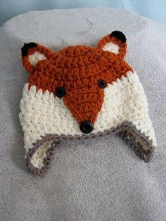 Crochet Fox Animal Ear Flap Hat for Newborn Baby by MissMoCrochet, $18.00