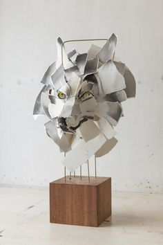 Wolf 2015 cotton rag, cotton thread, watercolour ink, brass rod