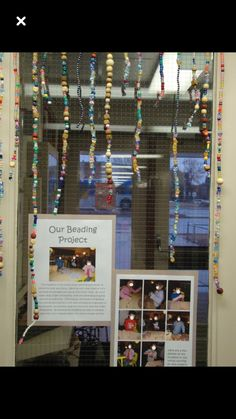 On-going beading project with documentation-- this is a pretty cool idea-- offer this as a choice maybe times a week and hang in the window. Change up the kind of beads. Counting the days of school? Reggio Emilia Classroom, Reggio Inspired Classrooms, Classroom Displays, Preschool Classroom, Preschool Art, Preschool Activities, Teaching Kindergarten, Teaching Resources, Classroom Ideas