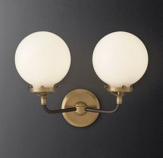 Bistro globe milk glass double sconce, from Restoration Hardware - Bathroom Vanity