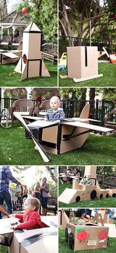 Cardboard Box Themed Birthday Party http://www.thelittleumbrella.com/2012/03/cardboard-box-birthday-party/